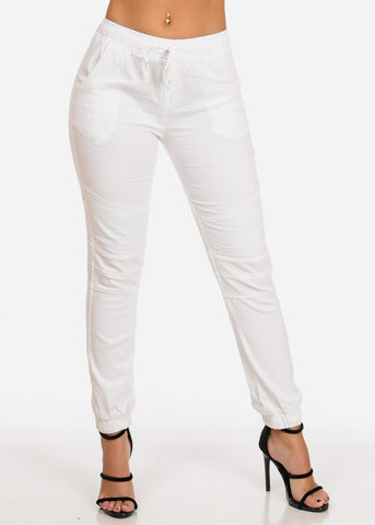 Image of Women's Junior Ladies Mid Rise Moto Design Style White Jogger Pants