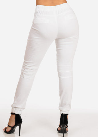 Women's Junior Ladies Mid Rise Moto Design Style White Jogger Pants