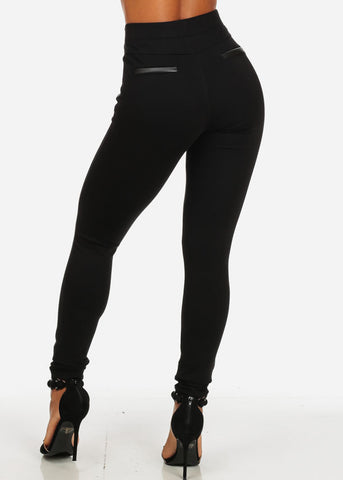 Evening High Waisted Black Slim Fit Skinny Pants