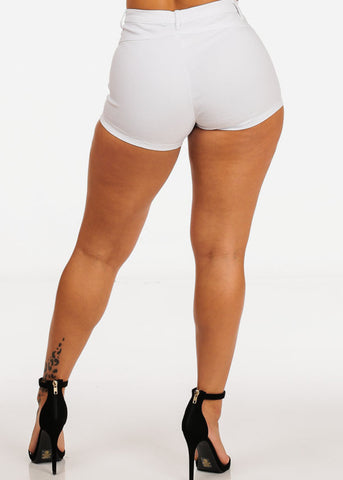 High Rise White Lace Up Shorts
