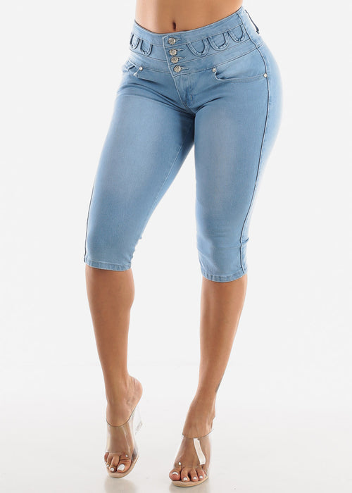 Light Denim Butt Lift Capris