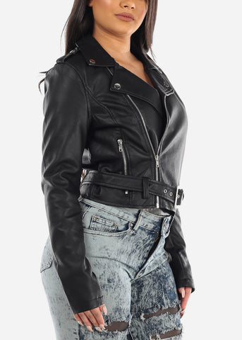 Image of Sexy Zip Up Faux Leather Moto Jacket In Black For Women Ladies Junior