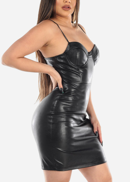 Black Pleather Mini Dress