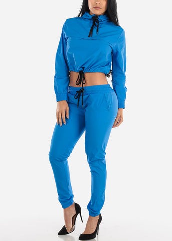 Blue Windbreaker Jacket & Pants (2 PCE SET)
