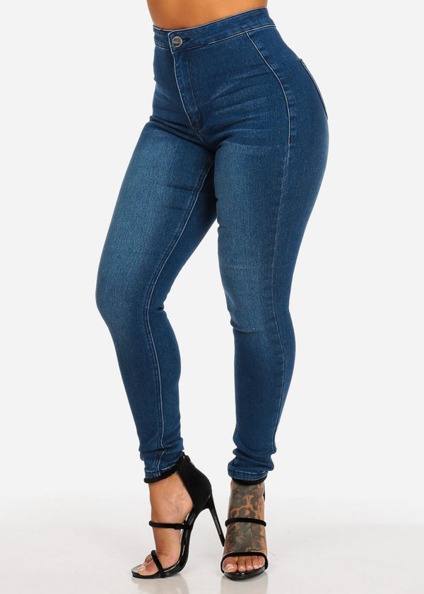Wome's Junior Ladies Classic Med Wash Ultra High Waisted 1 Button Skinny Jeans