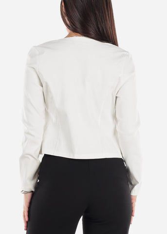 Image of Open Front White Blazer