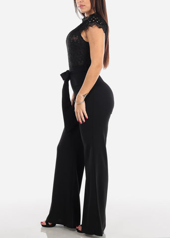 Image of Black Crochet Lace Bodice Jumpsuit