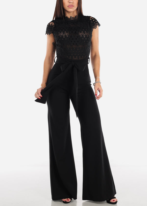 Black Crochet Lace Bodice Jumpsuit
