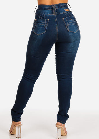 Dark High Waisted Butt Lifting Skinny Jeans