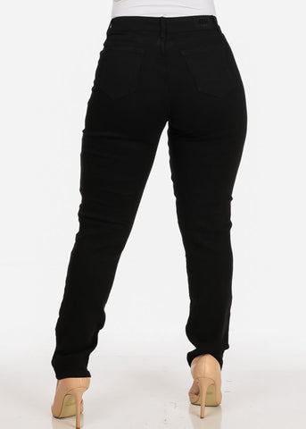 Image of Women's Stylish Curvy Super Stretchy Body Sculpting Plus Size Distressed Black Skinny Jeans