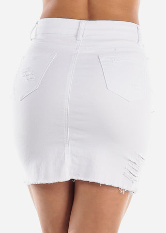 Distressed White Denim Mini Skirt