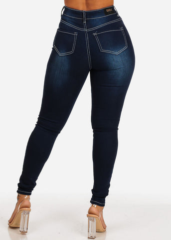Women's Junior Ladies Dark Wash Ultra High Waisted 1 Button Skinny Jeans