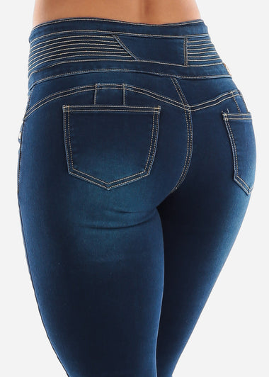 4 Button Butt Lift Ankle Jeans