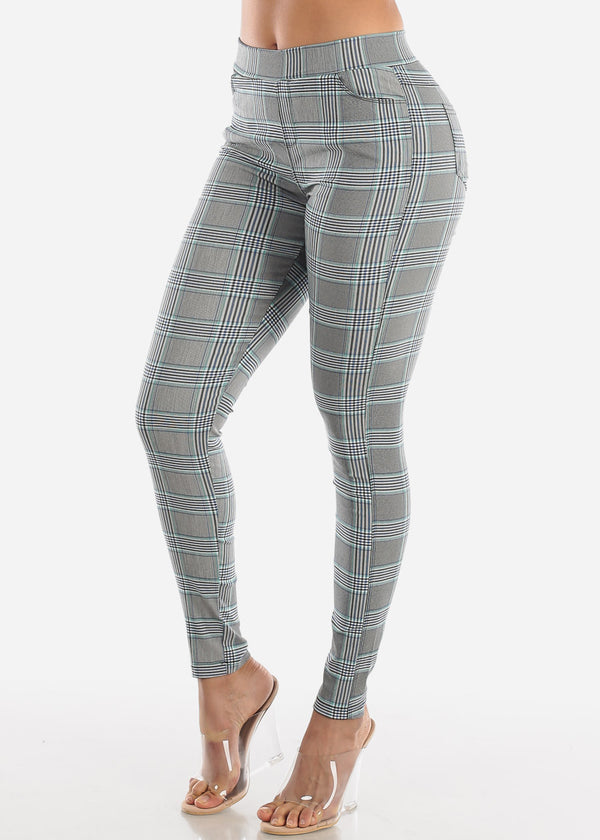 Pull On Blue Printed Skinny Pants