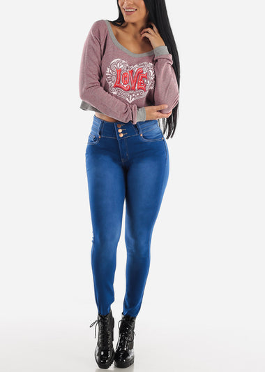 Dark Blue Levanta Cola High Rise Skinny Jeans