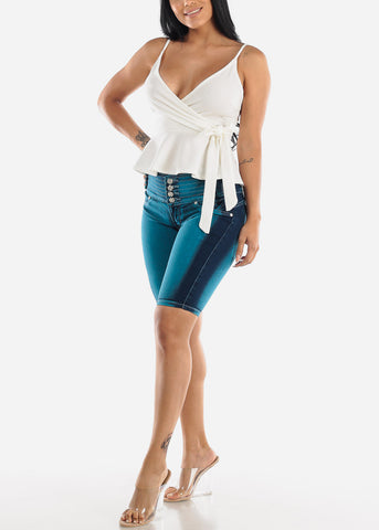 Image of Butt Lifting Teal Denim Bermuda Shorts