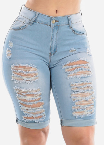 Image of Mid Rise 1 Button Whisker Destroyed Distressed Ripped Light Wash Bermuda Shorts For Women Ladies Junior