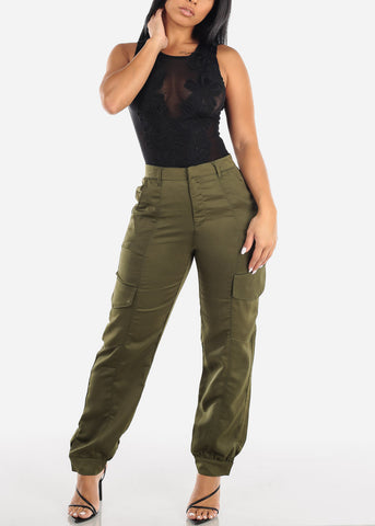Image of Glossy High Rise Olive Dressy Pants