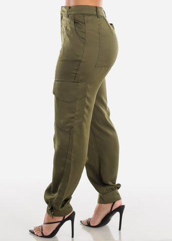 Glossy High Rise Olive Dressy Pants