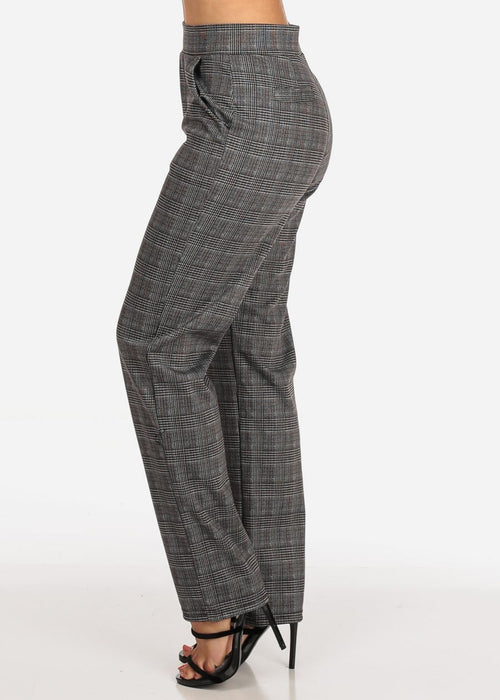 Women's Junior Ladies Stylish Going Out Business Office Career Wear Houndstooth And Plaid Print Brown Multicolor Straight Leg Dress Pants