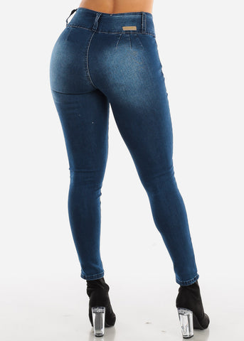 Dark Wash Ripped Levanta Cola Skinny Jeans