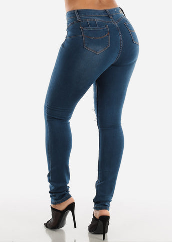 Dark Wash Levanta Cola Ripped Skinny Jeans