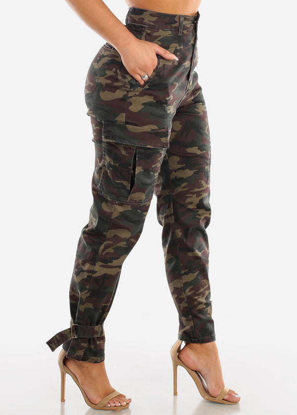 High Rise Camouflage Cargo Pants