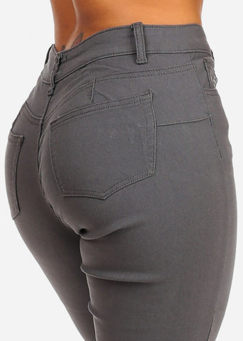 Grey Butt Lifting Skinny Jeans