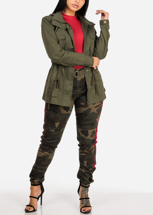 High Rise Camo Print Red Side Stripe Jogger Pants W Belt