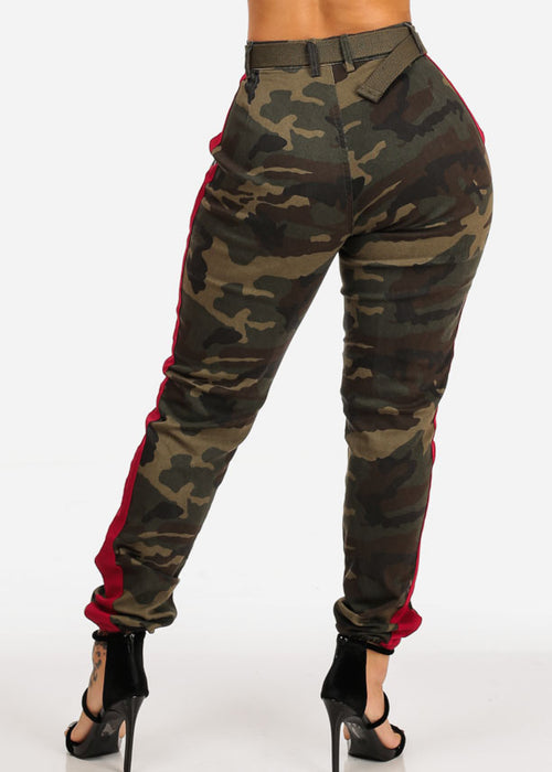 Camo Print Red Stripe Jogger Pants W Belt