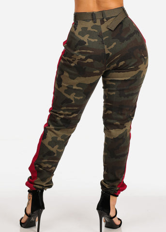 Image of Camo Print Red Stripe Jogger Pants W Belt