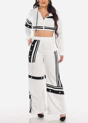 Image of Two Tone Crop Top & Pants (2 PCE SET)