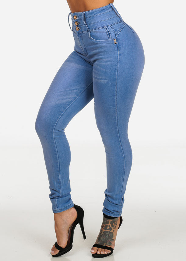High Waisted Colombian Style Light Skinny Jeans