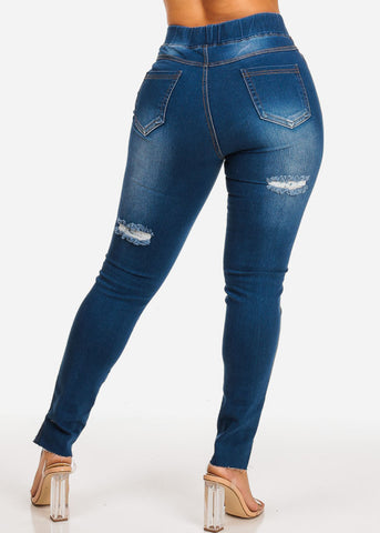 High Rise Ripped Skinny Leg Denim Jeans