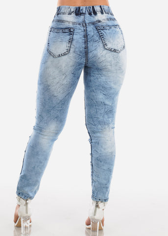 Trendy Pull On Acid Wash Skinny Jeans For Women Ladies Junior