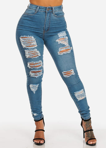 Image of Distressed Ultra High Waisted Skinny Jeans