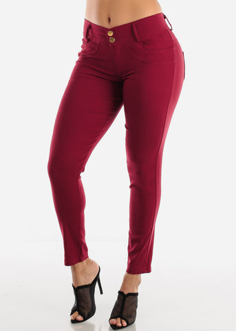 Image of 2 Button Burgundy Skinny Pants