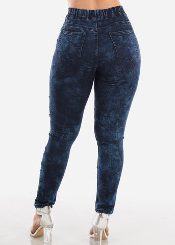 Image of Trendy Pull On Dark Acid Wash Jeans