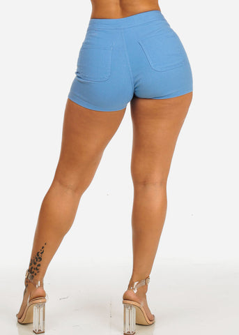 Image of Blue High Rise Summer Shorty Shorts