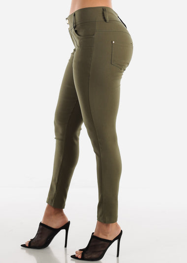 2 Button Olive Skinny Pants
