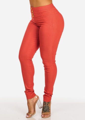 Butt Lifting High Waisted Coral Skinny Pants