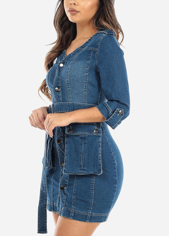 Image of Button Up Belted Denim Mini Dress