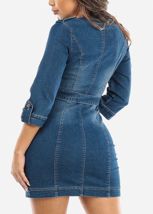Button Up Belted Denim Mini Dress