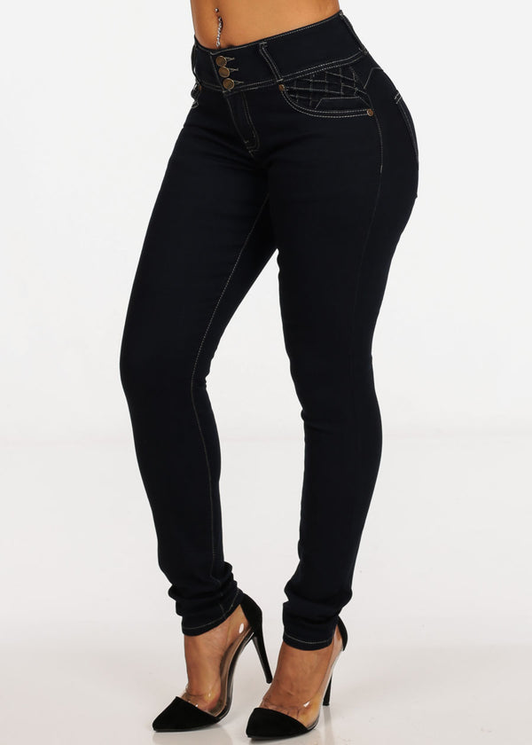 Butt Lifting Dark Wash 3 Button Mid Rise Skinny Jeans