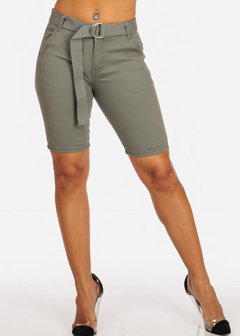 Cute Stylish Mid Rise Olive Bermuda Shorts