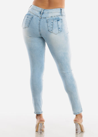 Butt Lifting Ripped Acid Wash Skinny Jeans