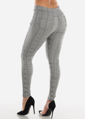Image of Pull On Black Plaid Skinny Pants