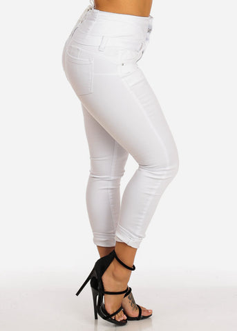 White High Rise Butt Lifting Lace Up Skinny Jeans