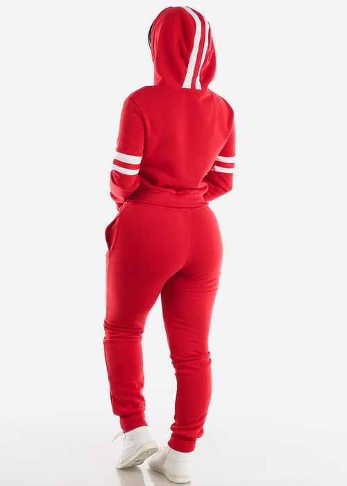Fleece Red Hoodie & Jogger Sweatpants (2 PCE SET)