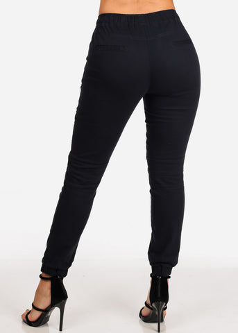 Women's Junior Ladies Mid Rise Moto Design Style Navy Jogger Pants